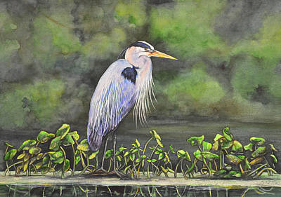 Painting - Great Blue Heron On Lily Pad by Laurie Tietjen