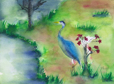 Painting - Great Blue Heron On Padgett Dr by Frank Bright