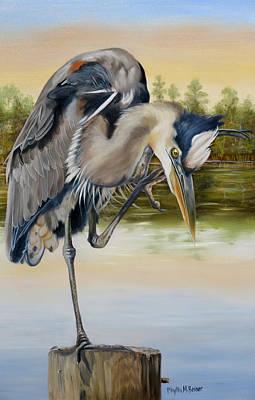 Waterfowl Painting - Great Blue Heron On The Jordan River by Phyllis Beiser