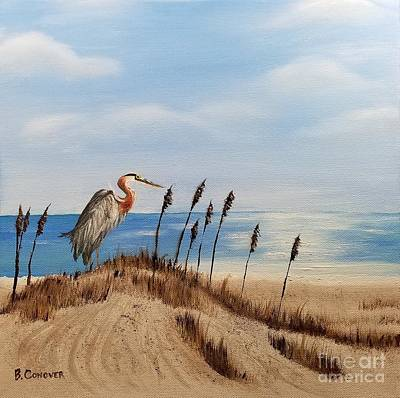Painting - Great Blue Heron - Outer Banks by Bev Conover
