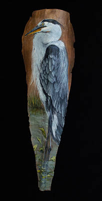 Painting - Great Blue Heron Palm Frond Art by Nancy Lauby