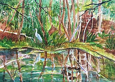 Painting - Great Blue Heron Pond Reflections  by Ellen Levinson