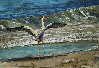 Wading River Painting - Great Blue Heron by Shirley Sykes Bracken