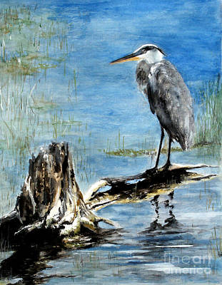 Great Blue Heron  Art Print by Sibby S