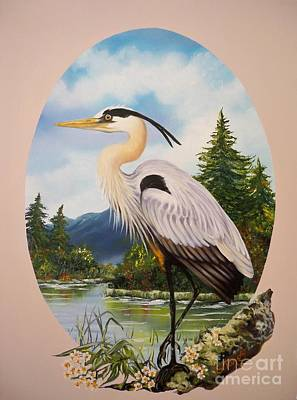 Painting - Flying Lamb Productions                 Great Blue Heron by Sigrid Tune