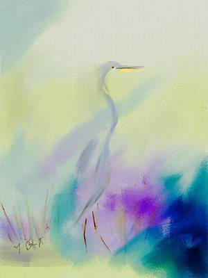 Great Blue Heron Sillouette Abstract Original