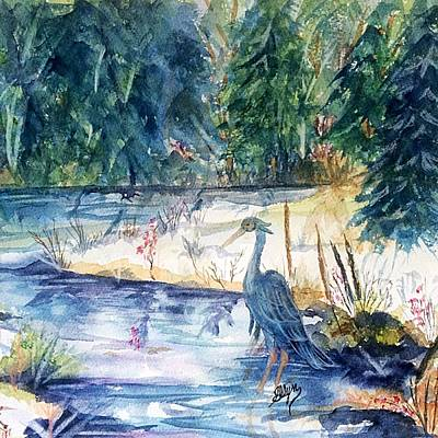Wading River Painting - Great Blue Heron Square Cropped  by Ellen Levinson