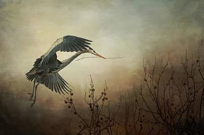 Great Blue Heron - Textured Photograph Art Print by SharaLee Art