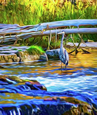 Photograph - Great Blue Heron - The Hunter 2 - Paint by Steve Harrington