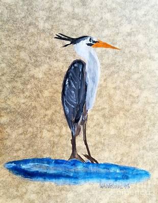 Great Blue Heron Watercolor Antique Parchment Paper Art Print by Scott D Van Osdol