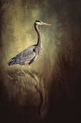 Heron Digital Art - Great Blue Heron With Reflection by Shara Lee