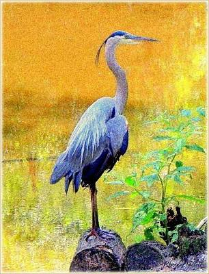Mixed Media - Great Blue by YoMamaBird Rhonda