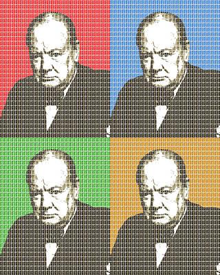 Briton Digital Art - Great Briton - Churchill X 4 by Gary Hogben