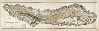 Drawing - Great Central Valley Of California - Topographical Map - Irrigation Map - Historical Map by Studio Grafiikka