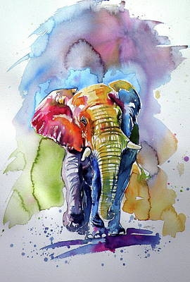 Painting - Great Colorful Elephant by Kovacs Anna Brigitta