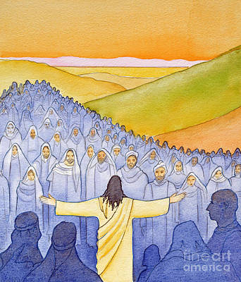 Sermon Painting - Great Crowds Followed Jesus As He Preached The Good News by Elizabeth Wang