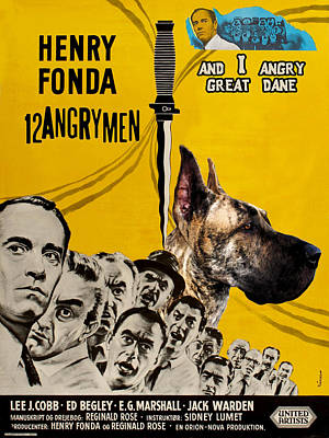 Painting - Great Dane Art Canvas Print - 12 Angry Men Movie Poster by Sandra Sij