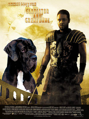 Painting - Great Dane Art Canvas Print - Gladiator Movie Poster by Sandra Sij