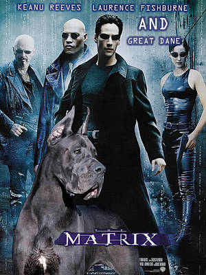 Painting - Great Dane Art Canvas Print - Matrix Movie Poster by Sandra Sij