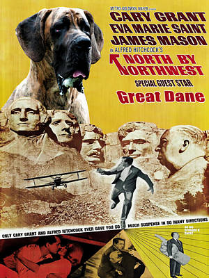 Painting - Great Dane Art Canvas Print - North By Northwest Movie Poster by Sandra Sij