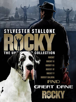 Painting - Great Dane Art Canvas Print - Rocky Movie Poster by Sandra Sij