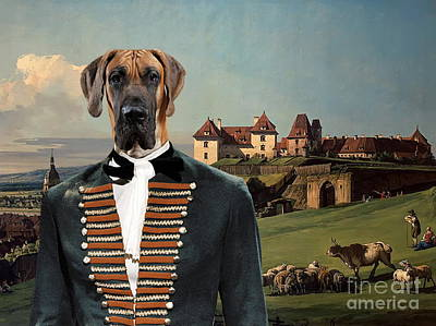 Painting -  Great Dane Art - The Baron And Castle by Sandra Sij