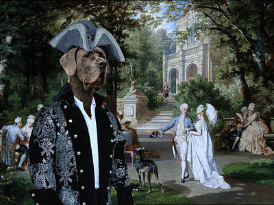 Painting - Great Dane Art -  The Garden Party by Sandra Sij