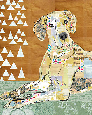 Art Deco Mixed Media - Great Dane Collage by Claudia Schoen