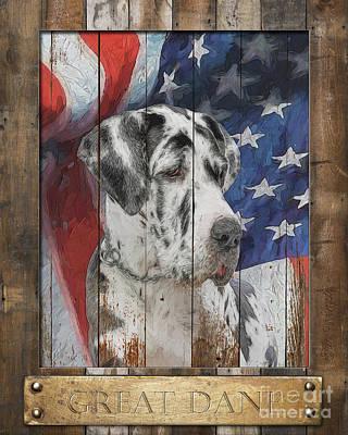 Digital Art - Great Dane Flag Poster by Tim Wemple