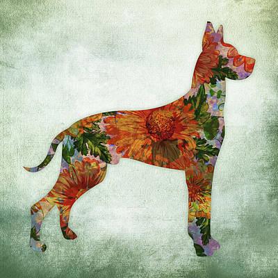 Watercolor Pet Portraits Digital Art - Great Dane Floral On Green by Flo Karp