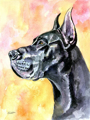 Watercolor Pet Portraits Painting - Great Dane by Lyn Cook