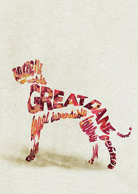 Great Dane Watercolor Painting / Typographic Art Art Print