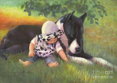 Great Dane Oil Painting - Great Dane With Baby by Nancy Lee Moran