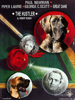 Painting - Great Dane Art Canvas Print - The Hustler Movie Poster by Sandra Sij