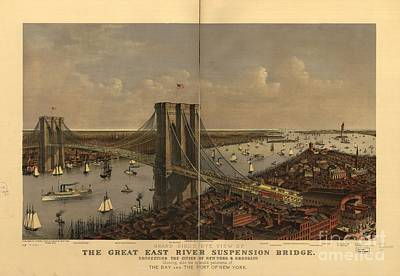 Suspension Bridge Painting - Great East River Suspension Bridge by MotionAge Designs