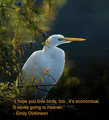 Great Egret And Emily Dickinson Quote Art Print