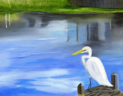Painting - Great Egret by Maria Williams