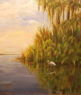 Great Egret On Marsh Art Print by Beth Maddox