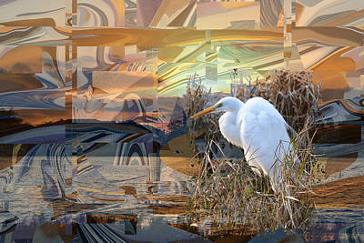 Photograph - Great Egret On Opal Abstract by rd Erickson
