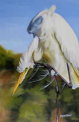 Blowing Rock Nc Painting - Great Egret In Fall by Phyllis Beiser