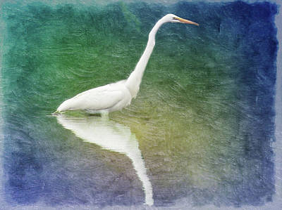 Digital Art - Great Egret Portrait by Rusty R Smith