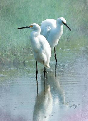 Egret Digital Art - Great Egrets by Betty LaRue