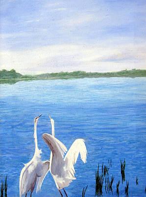 Great Egrets Art Print by Lauretta Cole Larsen