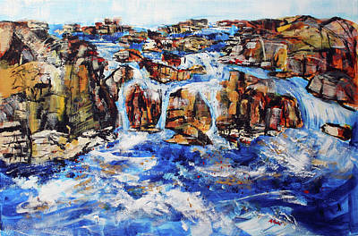 Painting - Great Falls Waterfall 201753 by Alyse Radenovic