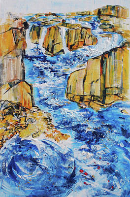 Painting - Great Falls Waterfall 201754 by Alyse Radenovic