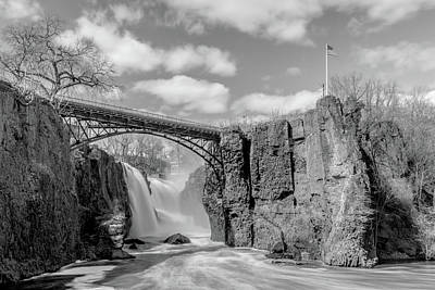 Surrealism Royalty-Free and Rights-Managed Images - Great Falls with Flag BW by Surreal Jersey Shore