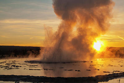 Photograph - Great Fountain Geyser Sunset - Yellowstone National Park by Brian Harig
