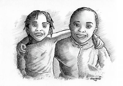 Charcoal Mixed Media - Great Friends by Anthony Mwangi