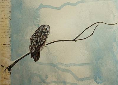 Spooky Scene Painting - Great Gray Owl by Lucy Deane