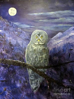 Painting - Great Grey Owl  by Lee Piper